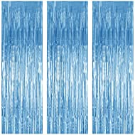 3 Pack Foil Curtains Metallic Foil Fringe Curtain for Birthday Party Photo Backdrop Wedding Event Decor (Pale Blue)