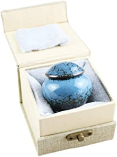 Keepsake Urns for Human Ashes Small Boxes, Mini Funeral Cremation Urns Adult - Fits a Small Amount of Cremated Remains - Display Burial at Home or Office Decor ( Fambe Blue Ocean, Hand Ceramics