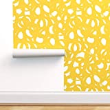 Spoonflower Peel and Stick Removable Wallpaper, Abstract Doodles Yellow Modern Circles Painting Print, Self-Adhesive Wallpaper 12in x 24in Test Swatch