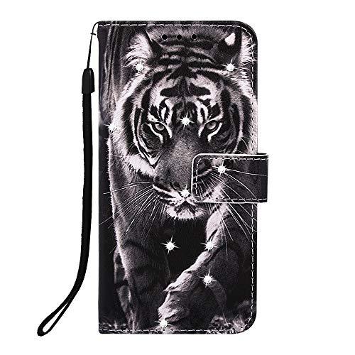 Fatcatparadise für iPhone XS/iPhone X Hülle (5,8 Zoll) + Bildschirmschutz,[Diamant-Serie] PU Leder Tasche Gemalt Muster Flipcase Cover Brieftasche Handyhülle Schutzhülle Handytasche (Tiger 2)