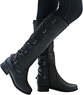Meilidress Women Boots Winter Tall Riding Leather Strappy...