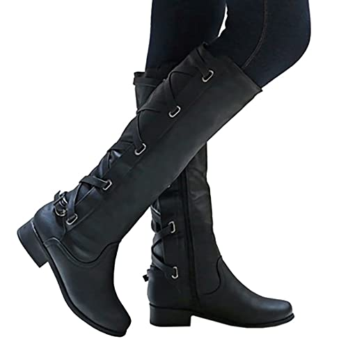 d9c4d85182fa2 Meilidress Women Boots Winter Tall Riding Leather Strappy Flat