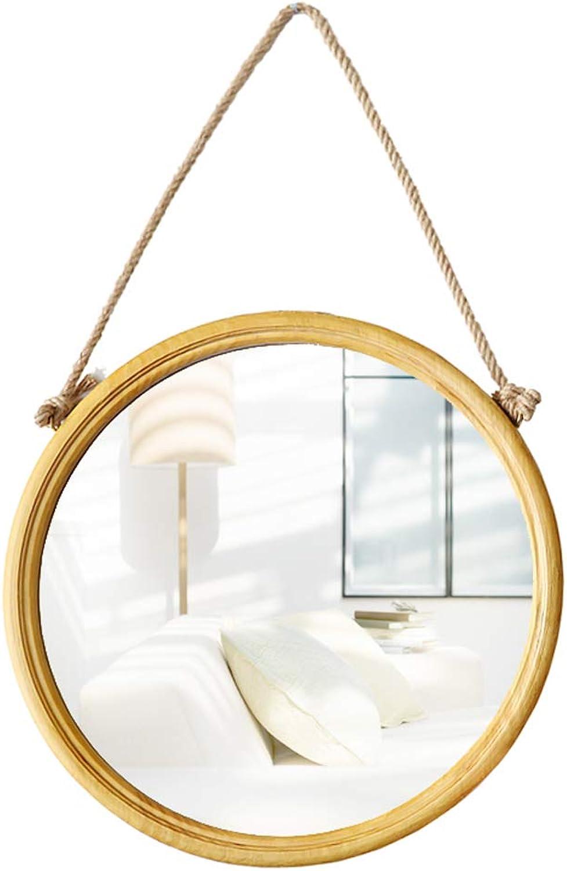 Wall Mounted Round Mirror Wrought Iron Hanging Mirror Makeup Mirror Black