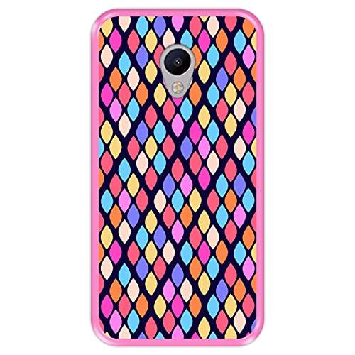 Hapdey Funda Rosa para [ Meizu M3s ] diseño [ Patrón Abstracto con Rombos de Colores ] Carcasa Silicona Flexible TPU