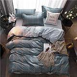 Bettwäsche Set Streifen Bettwäscheset Sommer Rosa Bettlaken, Kissenbezug & Bettbezug Blatt Bettwäsche Set Queen Size Blau 200x230cm