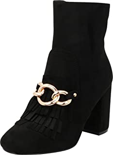 Cambridge Select Women's Closed Round Toe Chain Fringe Chunky Block Heel Ankle Bootie