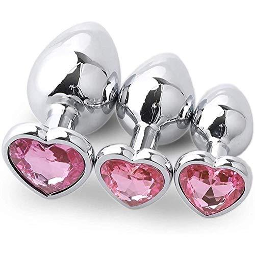 3 PCS Àmâl Pl'ug Prõstàte Massàger Tõys with Pink Heart-Shaped Jewel,T-bar Metal Alloy Stainless Steel Būtt Plūg Anál Beads Massage G Spotter Sѐxy Toystory for Adūlt Couples Set