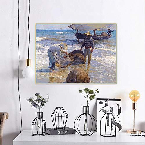 Pintura DIY para adultos Joaquín Sorolla - Pescadores valencianos - Kit de pintura por número en lienzo para principiantes