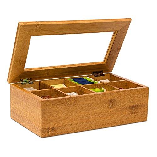 Relaxdays 10019145_408 Scatola Porta tè con 8 Scompartimenti, Marrone, 16x28x9 cm