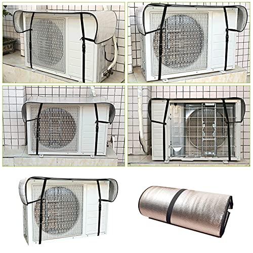 Gidenfly - Copertura per unità esterna di climatizzatore, oscurata dal sole, con carta di alluminio riflettente, spessa 5 strati double face, copertura per unità esterna in PVC