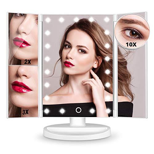 HAMSWAN Espejo de Maquillaje, [Regalos] Espejo de Mesa Tríptico con Aumentos...