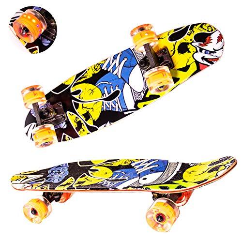 Sumeber Skateboard Kinder Komplette Cruiser Skateboard für Anfänger 61x17cm ABEC-9 Kugellager 7-Lagiger Double Kick Deck Concave Skateboard mit LED-Blitzräder für Kinder Jugendliche Erwachsene