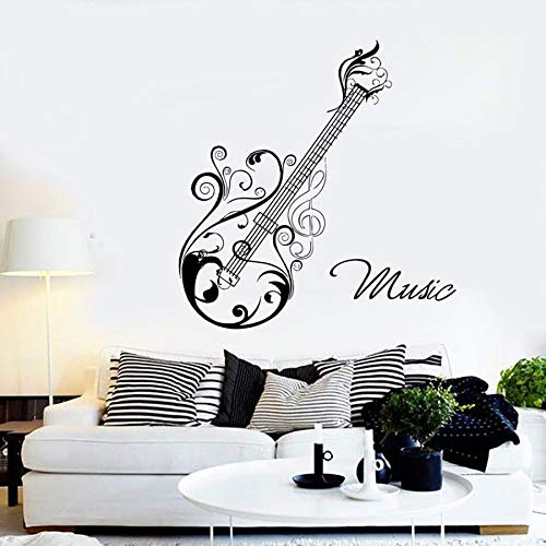 Tianpengyuanshuai Gitarre Wandtattoo Musik Dekoration Wandbild Vinyl Wandaufkleber Music Studio Abnehmbar 57X59cm