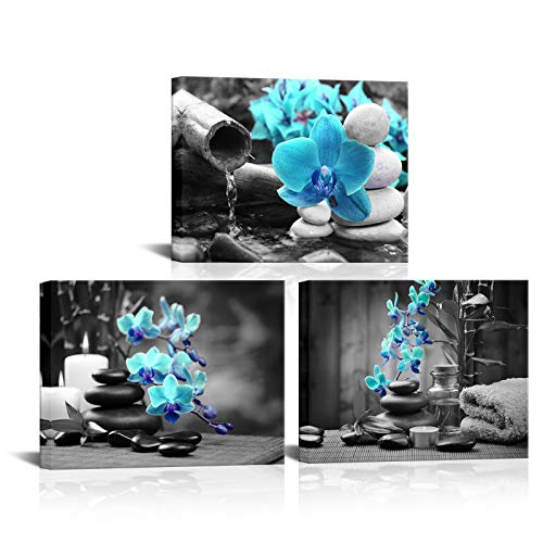 3 Panels Spa Decor Zen Canvas Wall Art Spa Stones and Blue Orchid Flower Picture Prints Relax Painting Artwork for Home Bathroom Spa Salon Decoration Stretched and Framed Ready to Hang