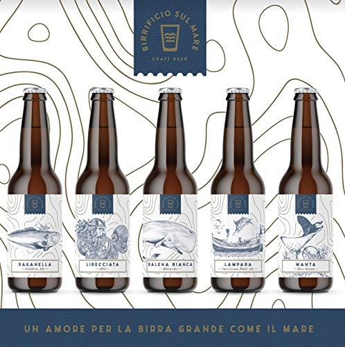 Birra artigianale, box misto 12 bottiglie 33cl, 3 Raganella Golden Ale Alc4,5 Vol, 3 Lampara American Pale Ale Alc 4,6 Vol, 3 Libecciata IPA Alc 6,0 Vol, 3 Balena Bianca Alc 4,8 Vol