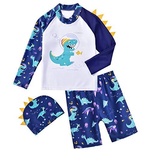 WAWSAM Baby/Jungen Badebekleidung langärmliges Dinosaurier 3 Peciis Rashguard Badeanzug T-Rex UV-Schutz Bedruckte Badeanzug Short Sets mit Hut zum Kinder (Marine, 5-6 Jahre)