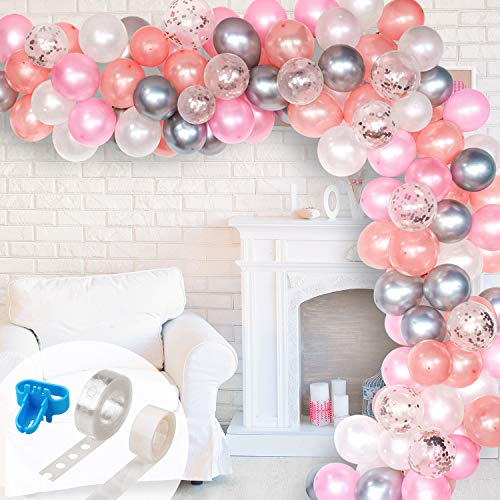 Whaline Balloon Arch & Garland Kit, Rose Gold Pink White & Confetti and Silver Metal Latex Balloons Set with 16ft Balloon Strip Tape, 1pcs Tying Tool 100 Glue Points for Wedding Birthday Party Decor