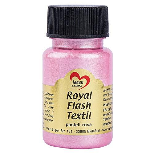 Royal Flash Textil, Glitzer-Metallic-Farbe | hochdeckend, cremige Textilfarbe auf Wasserbasis | für helle und dunkle Textilien | 50 ml (pastell-rosa)