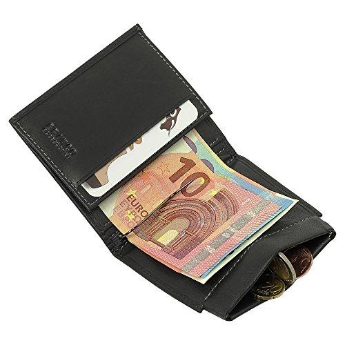Sportliche Leder Dollarclip Herren Geldbörse Geldclip Geldbeutel mit Geldklammer Schwarz