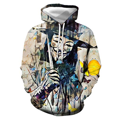 Sudadera con capucha 3D All-Match Sudadera Hombres y Mujeres Casual Bolsillo con Capucha 3D Impresión Suéter