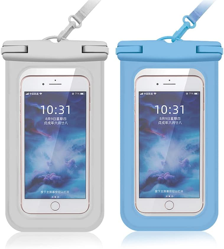 Cexoda Universal Waterproof Case,Waterproof Phone Pouch Compatible,Cellphone Dry Bag Pouch for iPhone 12 Pro Max 11 Pro Max Xs Max XR XS-2Pack (White&Blue)