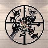 チワワ壁掛け時計犬の品種子犬ビニールレコード時計犬ペットヴィンテージ時計犬犬愛好家のためのモダンな装飾時計ギフト