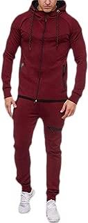 Mens Tracksuit Solid Long Sleeve Hoodie Jacket Sweatshirt+Pant Running Sportsuit