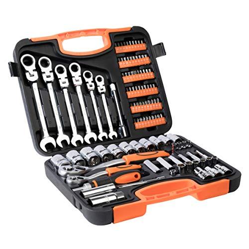 Werkzeugkoffer Werkzeugset Werkzeug im praktischen Koffer Universal Werkzeugkiste Werkzeugkasten für den Haushaltbereich Werkzeugtrolley inkl. vielseitigem Zubehör Werkzeugtrolly (104-teilig)