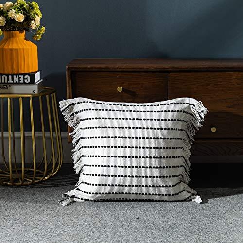 LIGICKY Fundas de cojín decorativas para el hogar, diseño bohemio, con borlas, cuadradas, de algodón, a rayas, para sofá, dormitorio, sala de estar, color negro y blanco, 45,7 x 45,7 cm
