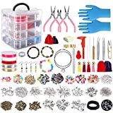 Jewelry Making Kit, 2062 pcs DIY Making Supplies for Bracelet, Necklace, Earrings Making, Great Gift for Girls and Adults with Beads,Jewelry Charms Findings,Pearl,Spacer Beads Wire Cord Pliers Caliper