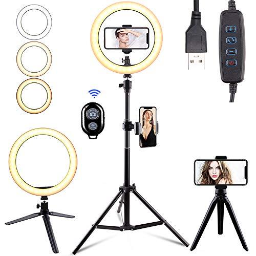 Anself Trípode ajustable de luz de anillo LED multifunción de 3 modos de luz 10 niveles de brillo Lámpara de relleno regulable para escritorio Maquillaje Grabación
