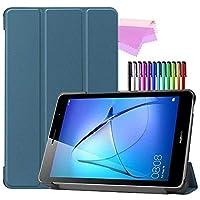 Billionn Huawei MatePad T8(kobe2-L03 / KOB2-L09)タブレット用フォリオ3つ折りスタンドスマートケース[超薄型] [超軽量]、ブラックグリーン