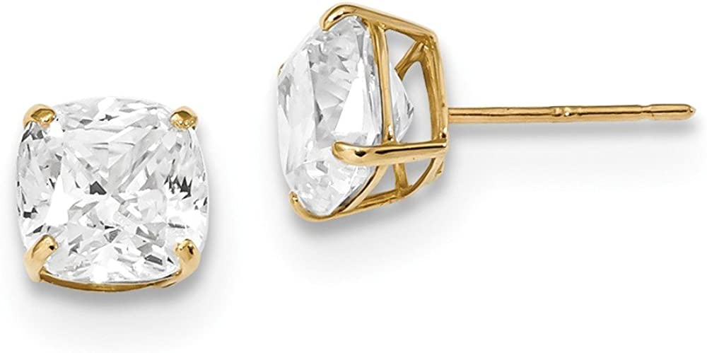 14k Yellow Gold 7x7 Cushion Cut Cubic Zirconia Cz Studs Post Stud Earrings Fine Jewelry For Women Gifts For Her