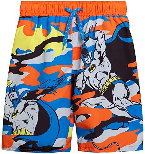 Warner Bros. Boys Swim Trunk Shorts - Batman and Justice League, Batman/Orange Camo, Size 5/6