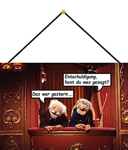 Blechschild 20x30cm gewölbt mit Kordel Waldorf Statler Muppet Show Hast Du was Deko Geschenk Schild Tin Sign