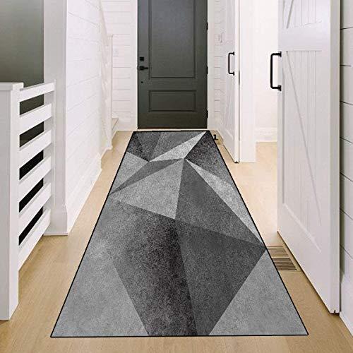 SESOUK Teppich Läufer Flur rutschfest, Küchen Teppiche Grauer Geometrischer Stil Lang Anpassbare Für Corridor - YYDT (Color : Gray, Size : 120×300cm)