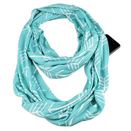 Infinity & Soft Scarf with Hidden Zipper Pocket Bundle Set | Winter Spring Summer Fall Autumn Lightweight Fashion Pattern Scarf, Travel Accessories for Women Girls Ladies