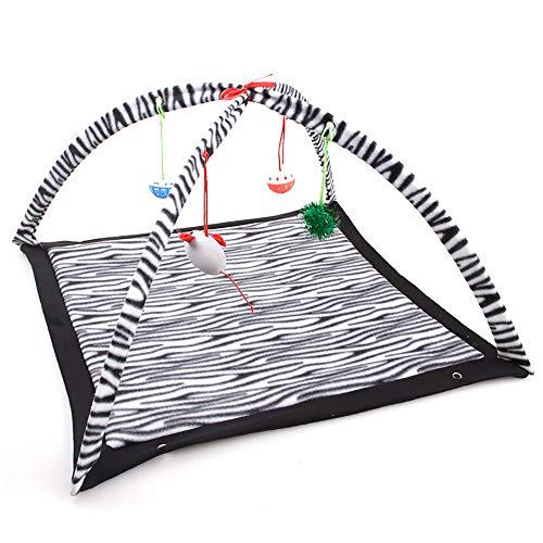LUYION Haustier Hängematte Atmungsaktiv Matratze Katze Comic-Spaß Nest Spielzeug Zelt Matte Faltbar Pad,Black/White