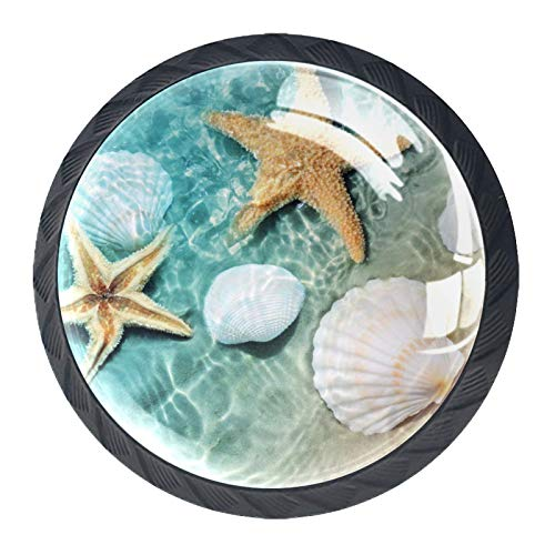 4 Pcs Drawer Knob Pull Handle Starfish and Seashell On The Summer Beach Cabinet Drawer Pulls Cupboard Knobs with Screws