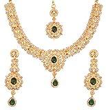 Touchstone Verlangen Sie nach bezaubernden floralen Diamanten besetzt Aussehen weißen Rhein Faux Braut Designer Schmuck Halskette Set für Damen Grün