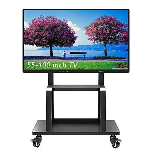 ZAQI Heavy Duty TV Cart, Rolling TV Stand with Laptop Shelf, Locking Wheels for 55-100 inch LCD LED OLED Plasma Display Trolley, Black