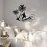 Pegatinas de pared Pegatina de diseño personalizado Surf Wave Beach Deportes extremos Palm Art Calcomanía para ventana Estilo de vacaciones Agencia de viajes Decoración de pared 57X70 cm