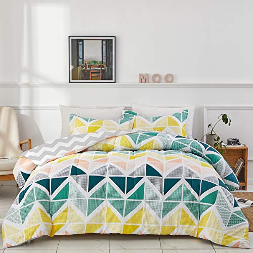 Uozzi Bedding Colorful Comforter Set Queen Size Yellow Navy Green Cubes Triangles Print Reversible Down Alternative 800 TC Kids Adult Duvet Sets