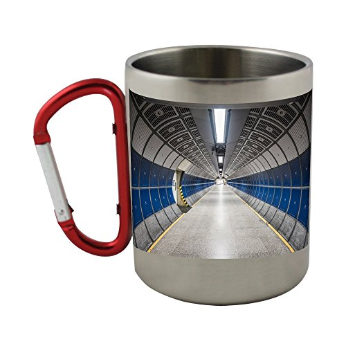 Stainless steel mug with carabiner handle with Hallway, Round, Tube, Design, Modern