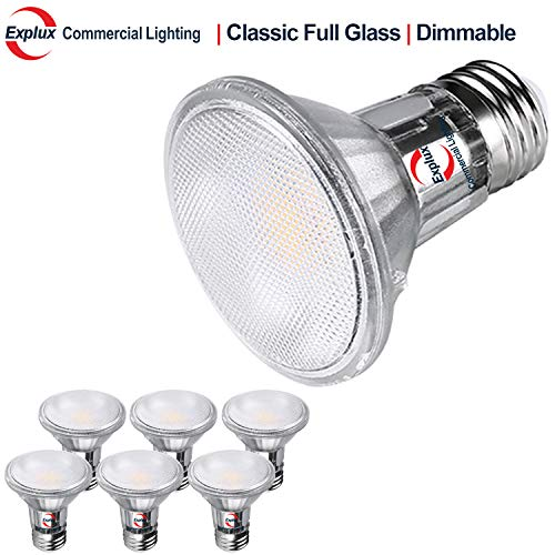 Explux Classic Full Glass LED PAR20 Flood Light Bulbs, Dimmable, 50W Equivalent, Indoor/Outdoor, 2700K Soft White, 6-Pack