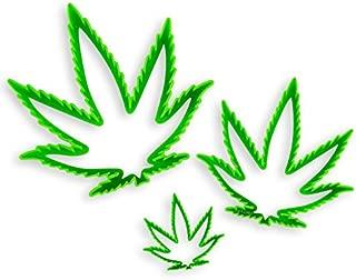 NY Cake NY2100 Marijuana Cannibus Plastic Leaf Cutter (Set of 3), Large/Medium/Small, Green