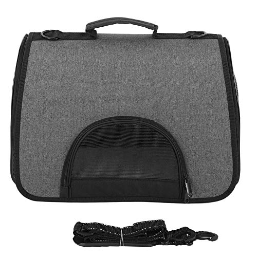 42x25x30cm Bolsa Plegable portátil para Exteriores para Mascotas, Transpirable, de un Solo Hombro, para Gatos, Perros pequeños, Gris + Negro(Negro)