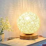 Lámpara de mesa de madera, ABEDOE Lámpara de noche decorativa de madera, cargador USB para dormitorio, sala de estar, mesita de noche, mesa auxiliar, habitación de café, habitación del bebé (dorado)