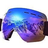 PHYLES Lunettes de Ski, Masques Snowboard pour Adultes - Protection UVA 100% (Bleu)