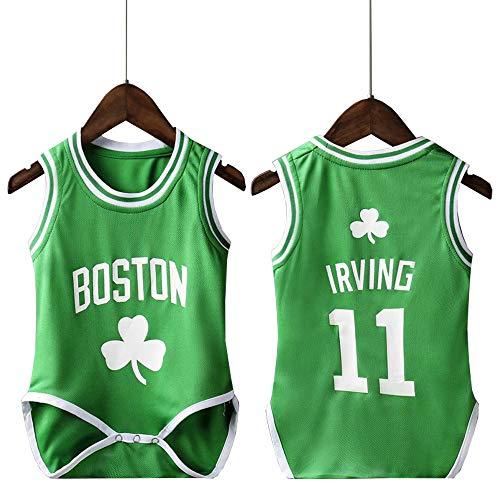 lkjhgfd Baby Romper Bodys Von Kyrie Irving 11# Boston Celtics ärmellose Lose Basketballtrikots Für Jungen Mädchen,Green-9(65-75cm)